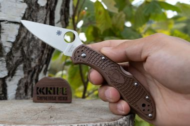 "Нож ""Delica 4"" VG-10 Brown FRN 11FPBN от Spyderco — Kknife"