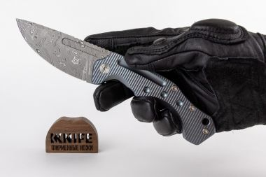 "Нож ""Desert Fox"" Blue Titanium Damasteel by Boris Manasherov Fox Knives FX-521DLB  — Kknife"