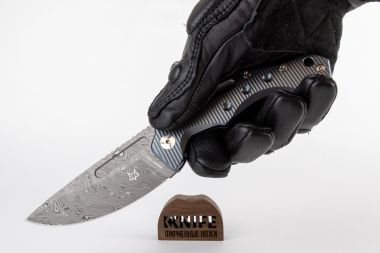"Нож ""Desert Fox"" Blue Titanium, Damasteel by Boris Manasherov Fox Knives FX-521DLB  — Kknife"