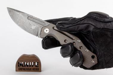 "Нож ""Desert Fox"" Bronze Titanium, Damasteel by Boris Manasherov Fox Knives FX-521DRB  — Kknife"