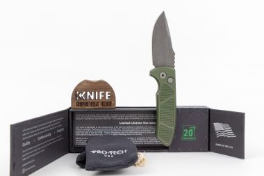 "Нож ""Short Bladed Rockeye"" Crucible CPM-S35VN Stonewash Green Aluminium LG415GRN от Pro-Tech — Kknife"